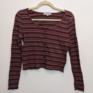 Ribbed Crop Top with Long Sleeves